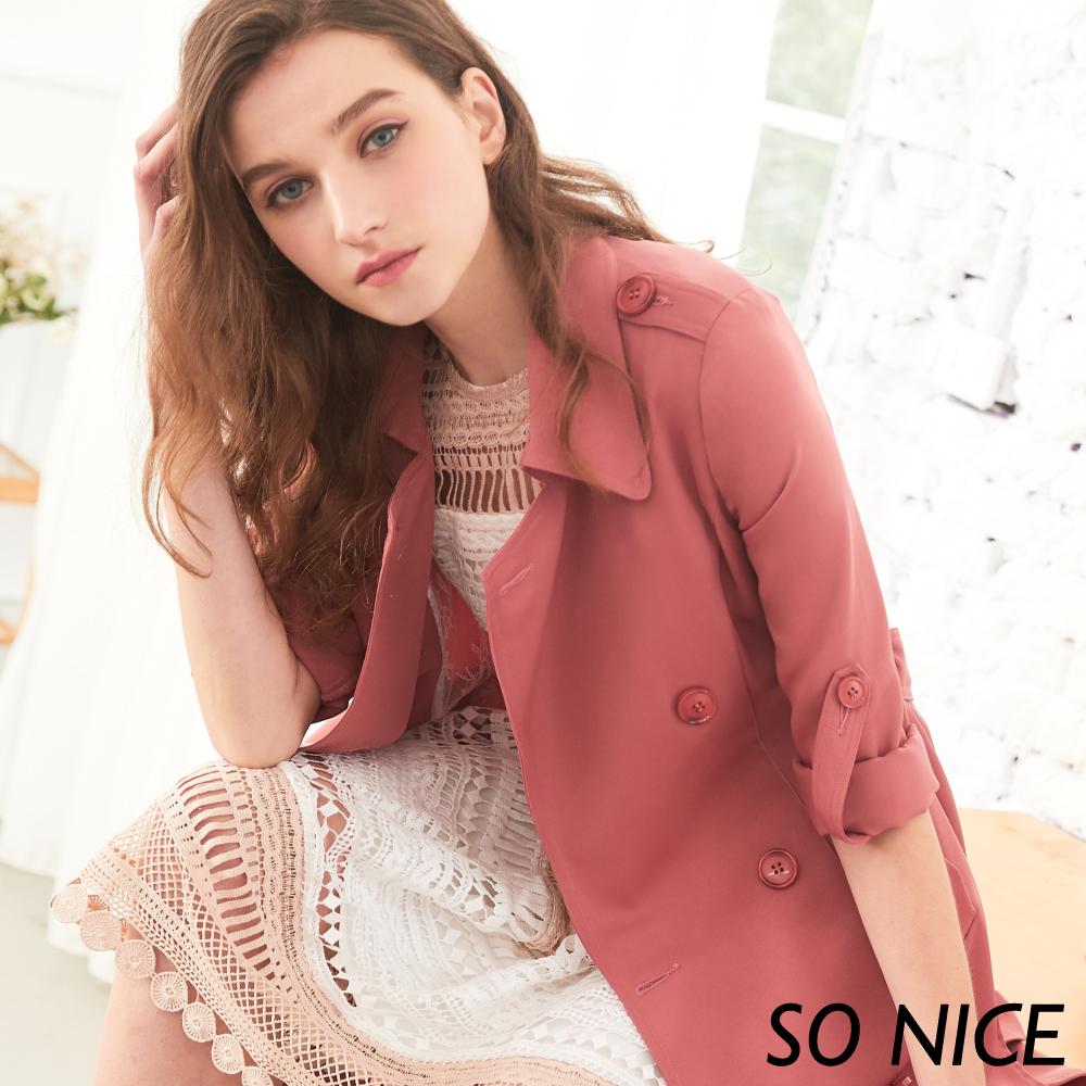 SO NICE優雅蕾絲中長版風衣 @ Y!購物