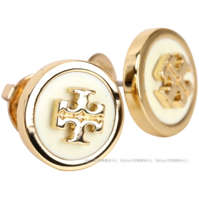 TORY BURCH Enameled Raised 雙T琺瑯蝶型穿釦黃銅耳環(米白色)