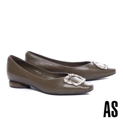 低跟鞋 AS 時尚品味波紋方釦全真皮小方頭低跟鞋-綠