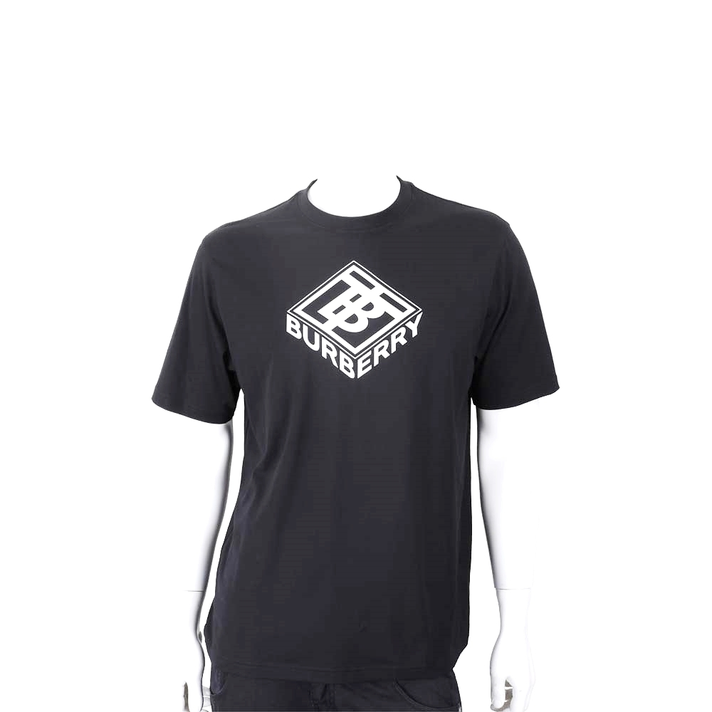 BURBERRY 字母徽標印花棉質短袖TEE T恤(男款/黑色)