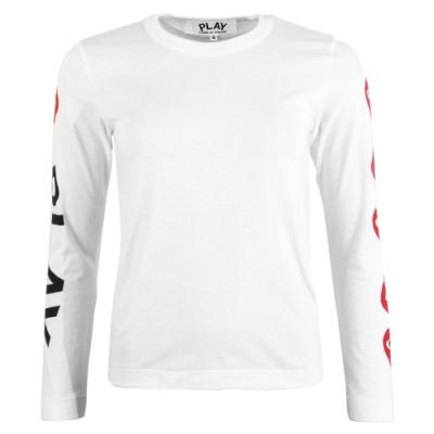川久保玲Comme des PLAY系列 袖子五顆紅心印花 基本款圓領長袖T恤-白色