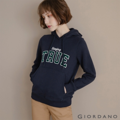GIORDANO 女裝 Dreamers系列復古風連帽T恤-07 標誌海軍藍