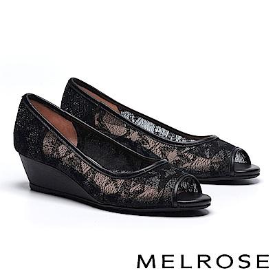 高跟鞋 HELENE SPARK 經典雅緻星星造型網紗魚口楔型高跟鞋-黑