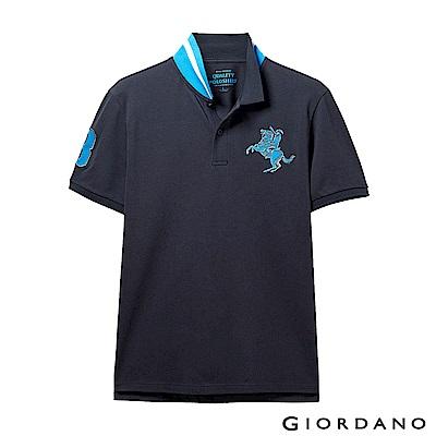 GIORDANO 男裝經典拿破崙撞色刺繡彈力萊卡POLO衫-02 標誌海軍藍
