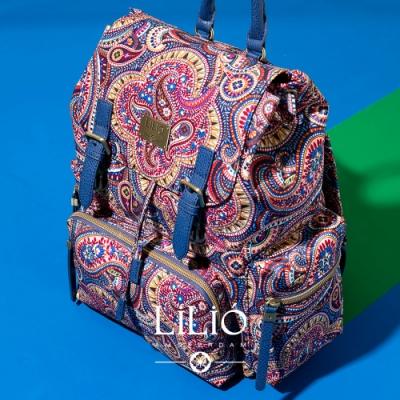 【LILIO】琉璃藍_壓扣式手提/雙肩後背包_簡約生活_PAISLEY  PARK