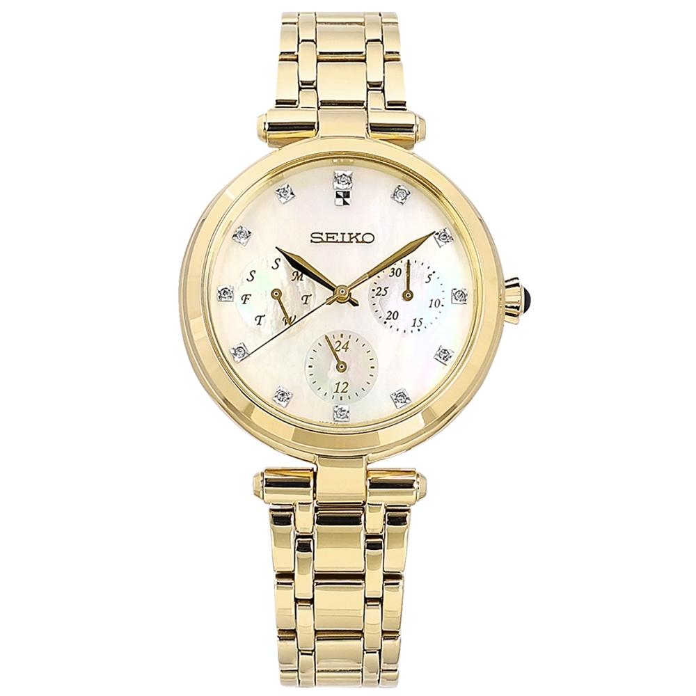 SEIKO 精工 三眼三針 珍珠母貝 藍寶石水晶玻璃 真鑽 不鏽鋼手錶-銀白x鍍金/32mm