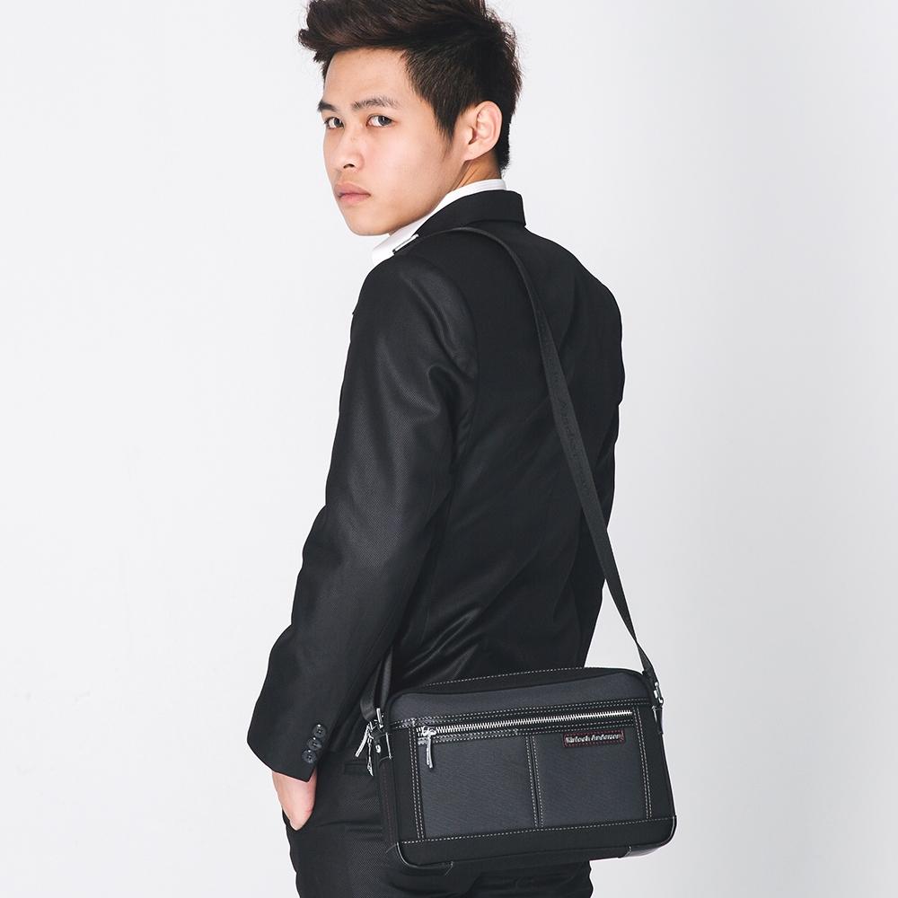 【金安德森】都會暖男 商務型橫式小款拉鍊輕便斜側包-灰黑