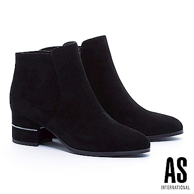 短靴 AS 極簡率性金屬線條設計麂皮高跟短靴-黑