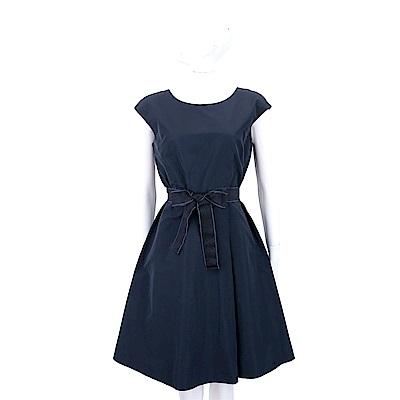 Max Mara-WEEKEND 水晶鑽花綁帶深藍氣質洋裝