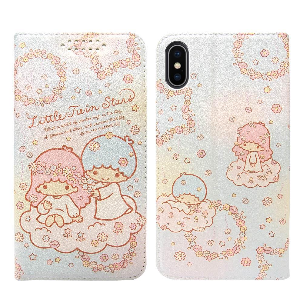 三麗鷗授權 iPhone Xs Max 6.5吋 粉嫩系列彩繪磁力皮套(花圈)