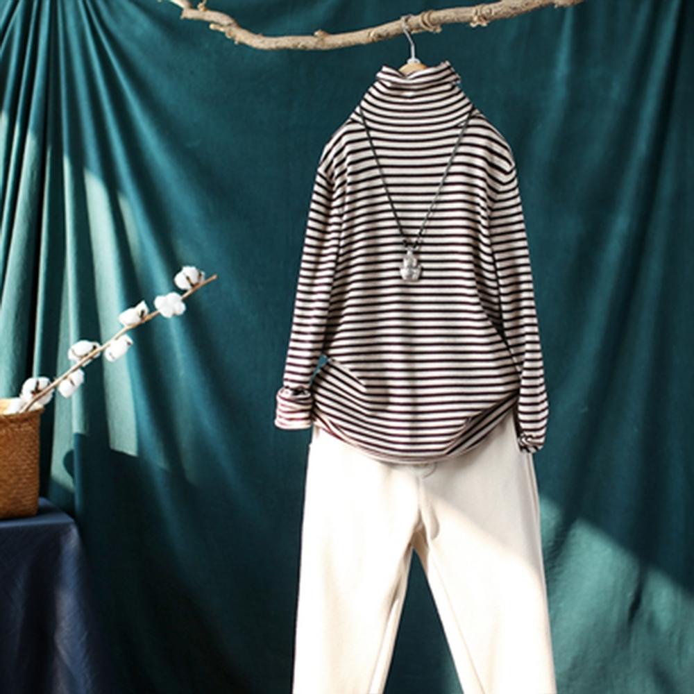 卷邊高領條紋加絨針織內搭衫寬鬆顯瘦保暖長袖毛衣-設計所在