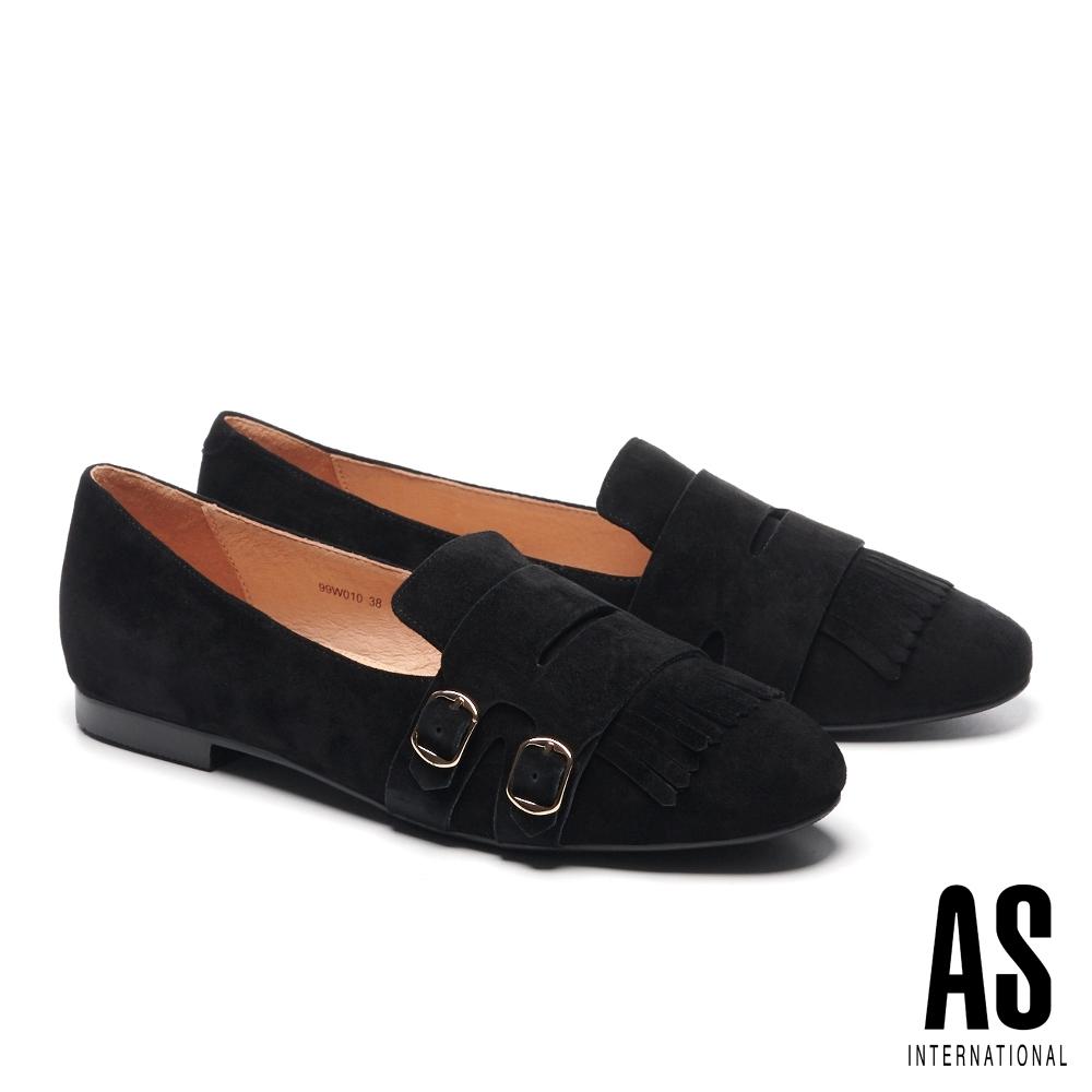 平底鞋 AS 金屬帶版流蘇造型全真皮樂福平底鞋-黑
