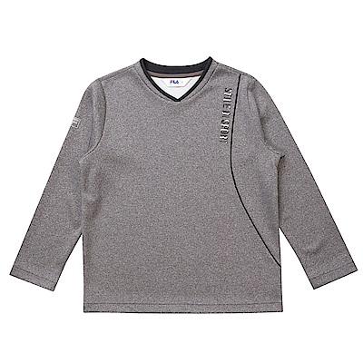 FILA KIDS 童吸濕排汗長袖上衣-麻灰 1TES-8301-MY