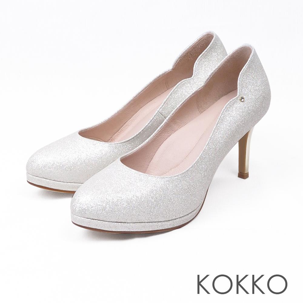 KOKKO -絕美風姿鑽飾曲線優雅高跟鞋-太空銀
