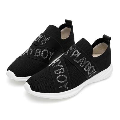 PLAYBOY 品牌水鑽襪套式休閒鞋-黑-Y5755CC