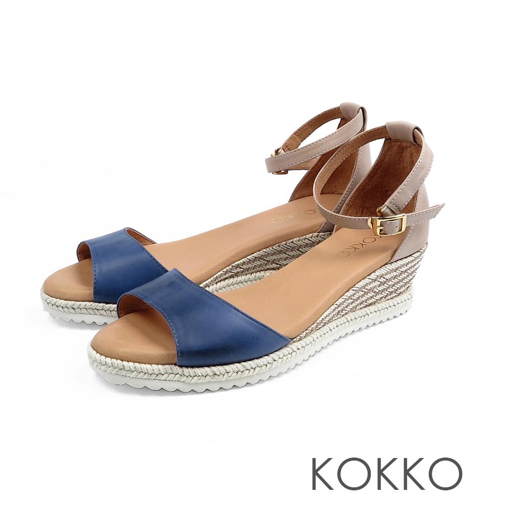 KOKKO - 裙擺搖搖草編全真皮超軟底涼鞋-海洋藍