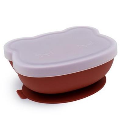 澳洲We Might Be Tiny 矽膠防滑吸盤碗熊寶寶-鐵鏽橘(附上蓋)
