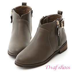 D+AF 好評推薦.V口拉鍊釦環內增高短靴*灰棕