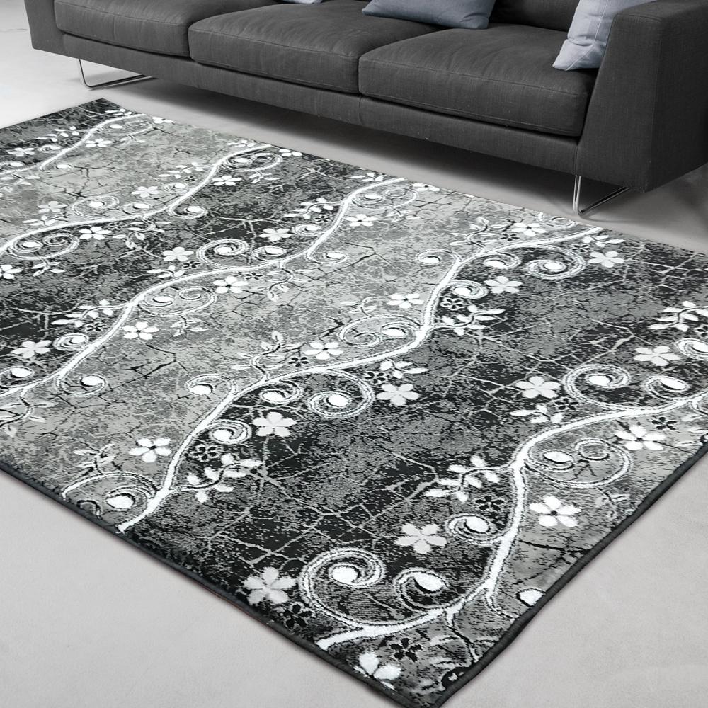 范登伯格 - 天王星 銀絲混紡現代地毯 - 繽紛黑 (140 x 200cm)