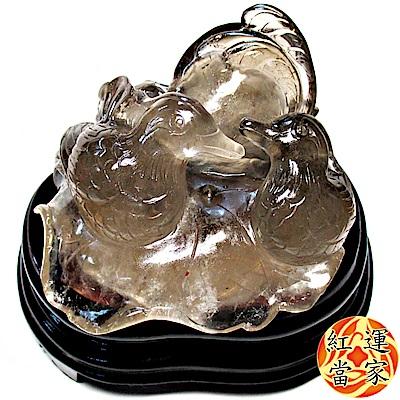紅運當家 特清透 天然茶晶大巧雕 幸福鴛鴦(淨重近1公斤) 含木底座