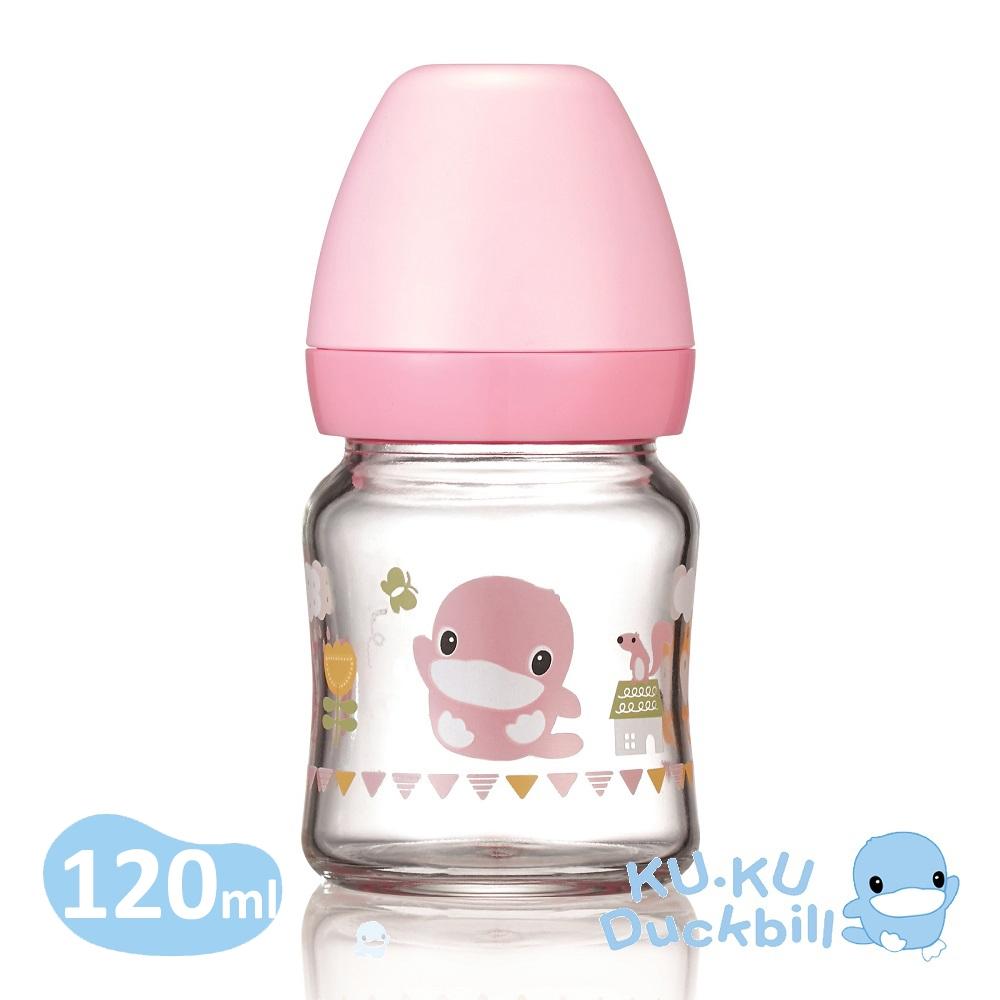 KUKU酷咕鴨 超矽晶寬口玻璃奶瓶120ml(藍/粉)