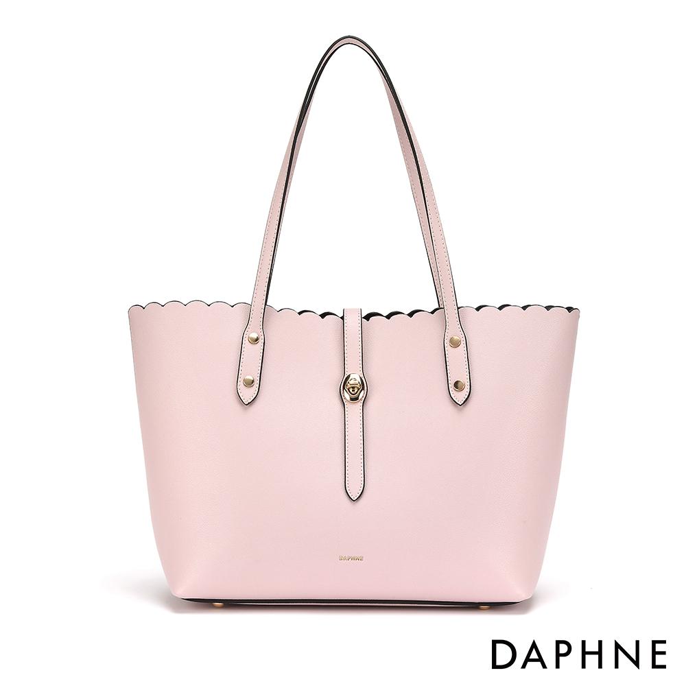 達芙妮DAPHNE-簡約波浪滾邊子母托特包-淺粉紅