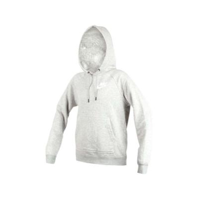 NIKE 女刷毛連帽長袖上衣-連帽T恤 保暖 慢跑 淺灰白
