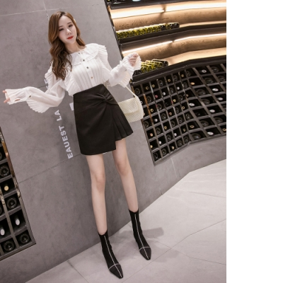 2F韓衣-不對稱皺摺造型百褶裙-黑XL