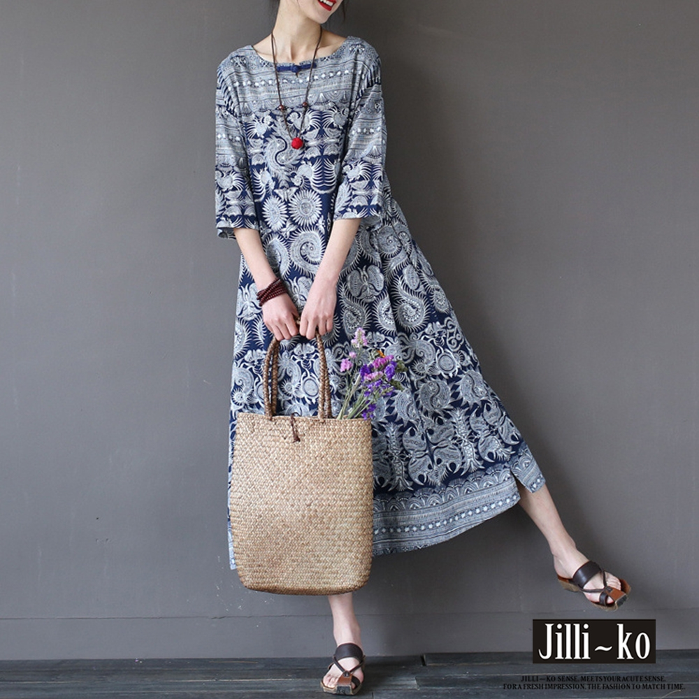 JILLI-KO 民族風印花棉麻連衣裙- 藍色
