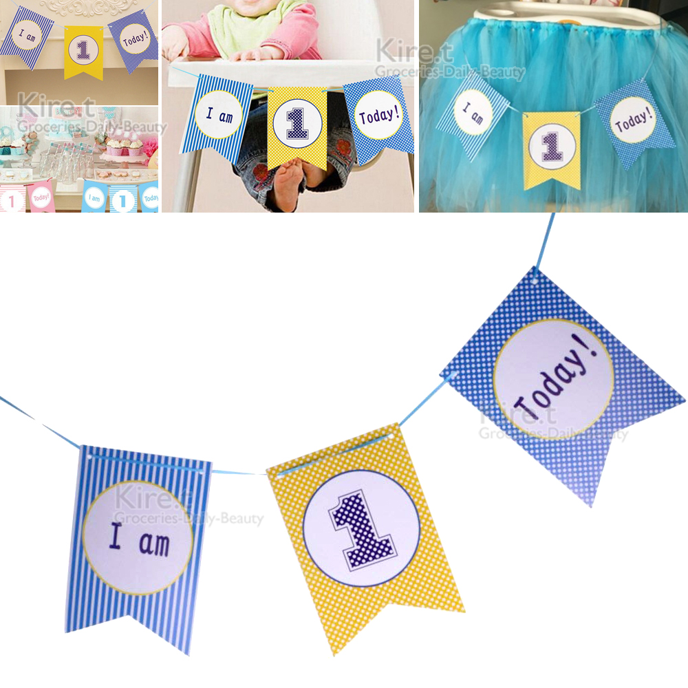 kiret 寶寶周歲生日派對佈置拉旗(贈吹不熄蠟燭10入)