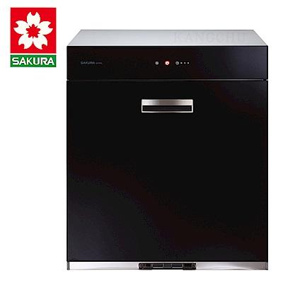 櫻花牌 Q7690 全平面玻璃單門抽取收納臭氧型60cm下崁式烘碗機