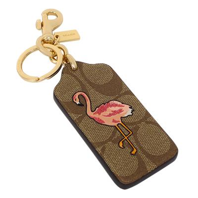 COACH卡其C Logo吊牌紅鶴圖印雙扣環鑰匙圈