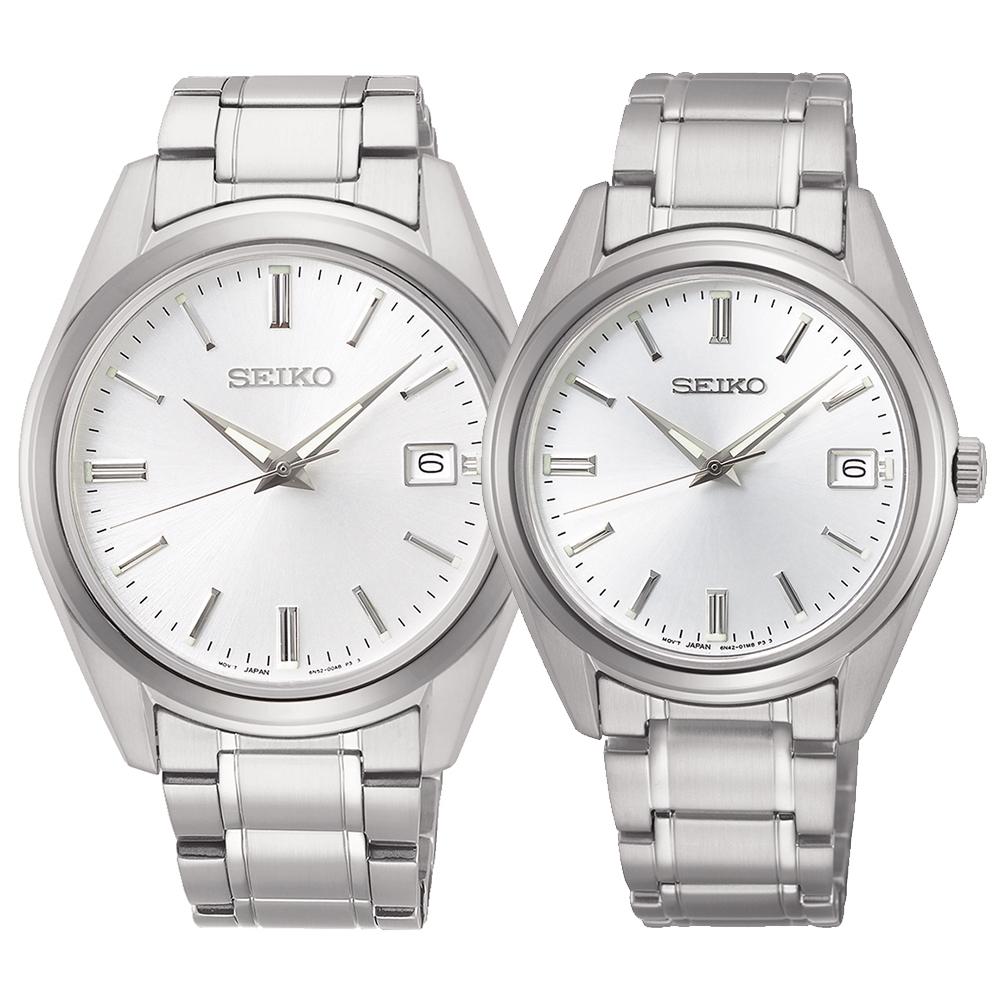 SEIKO精工 CS系列簡約大三針時尚對錶-白(6N52-00A0S/6N42-00L0S)
