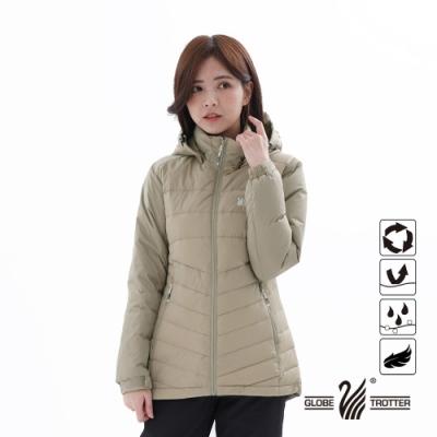 【遊遍天下】女款顯瘦防風防潑禦寒中長版90%羽絨外套22022卡其