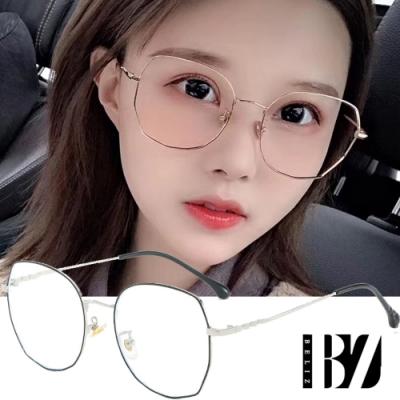BeLiz 多角圓框 雙色細金屬平光眼鏡 黑銀