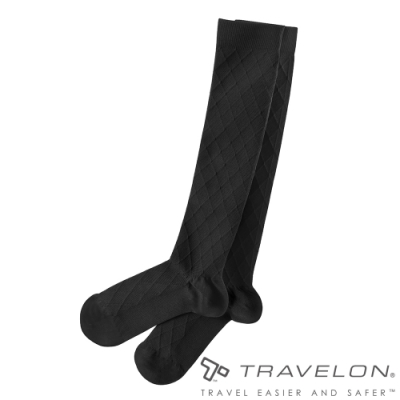 【Travelon】舒適型壓力襪TL-12199黑/刺激血液循環/舒緩腫脹/長途飛行/辦公久坐者適用