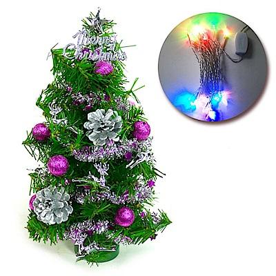 摩達客 1尺裝飾綠色聖誕樹(銀紫色系)+LED20燈彩光插電式(免組裝)