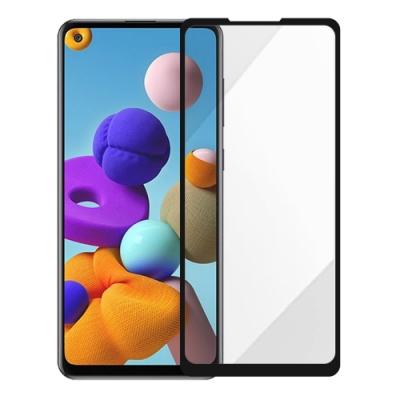 Metal-Slim Samsung Galaxy A21s 全膠滿版9H鋼化玻璃貼-晶鑽黑
