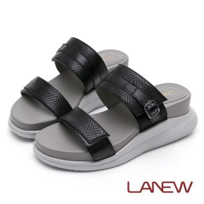LA NEW Fun鬆超舒適三密度羊皮壓紋厚底拖鞋(女226083530)