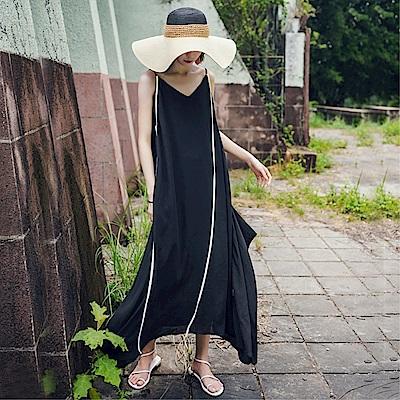 DABI 韓國風豎條紋V領吊帶度假寬松復古露肩長裙無袖洋裝