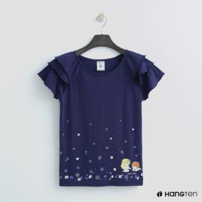 Hang Ten - 女裝 - Sanrio-荷葉蛋糕袖造型上衣 -藍