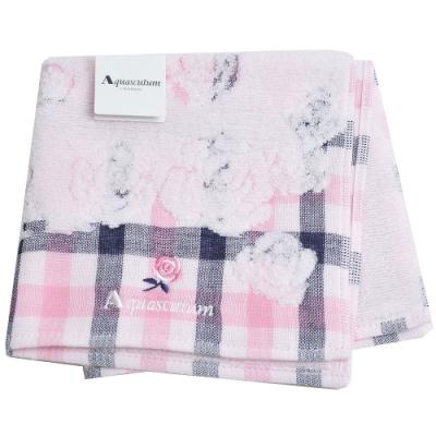 Aquascutun 經典品牌字母LOGO刺繡玫瑰花圖騰小方巾(粉紅色)