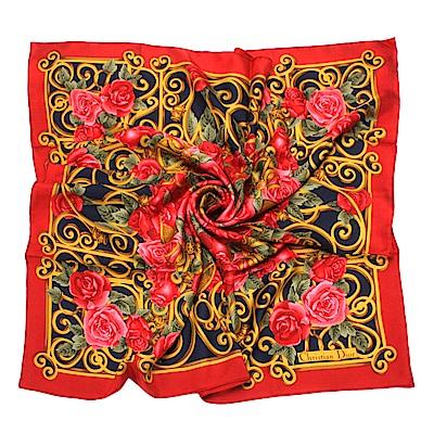 Christian Dior 華麗玫瑰花大絲巾-紅玫瑰/紅色