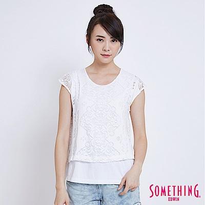 SOMETHING 蕾絲假兩件短袖T恤-女-白色