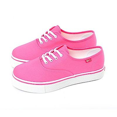 【TOPGIRL】繽紛輕柔厚底帆布鞋-桃紅