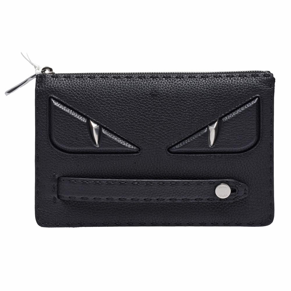 FENDI 經典BUGS系列怪獸眼睛造型荔枝紋小牛皮手工縫線飾邊萬用手拿包(黑)