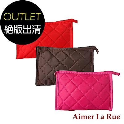 Aimer La Rue 蜜糖格紋配件包/化妝包附小鏡子(三色)(絕版出清)