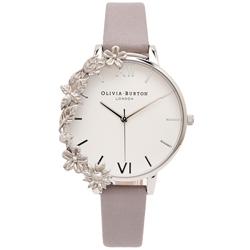 OLIVIA BURTON  華麗花朵風皮革錶帶手錶-白面/38mm