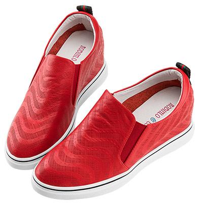 Robinlo & Co.波紋感沖孔牛皮內增高休閒鞋 紅色