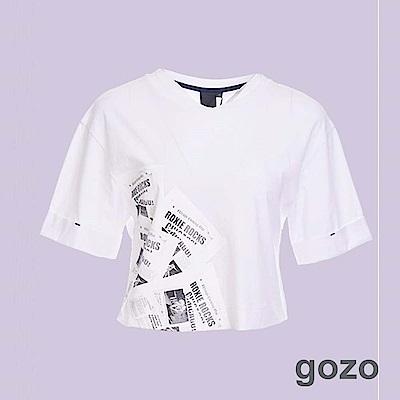 gozo 懷舊報紙印花短版上衣(二色)